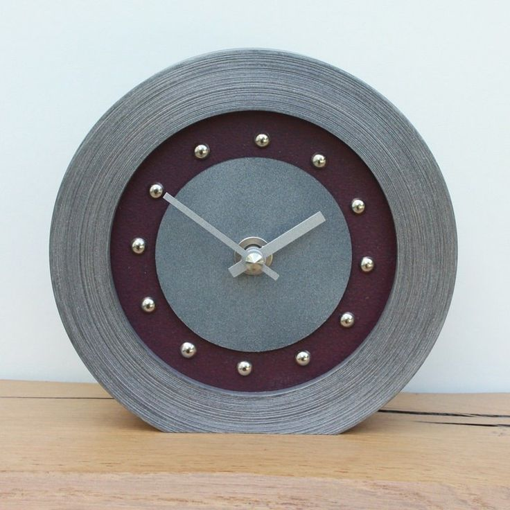 Purple Mantel Clock with Silver Studs and Hands