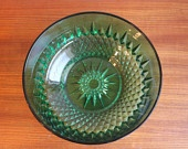 Vintage Emerald Colored Cut Glass Serving Bowl Arcoroc France
