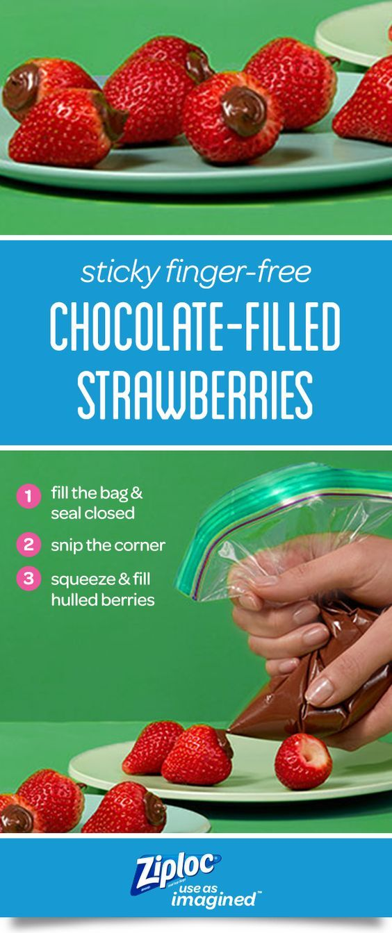 Turn chocolate-covered strawberries inside out and skip the sticky mess. Learn how to transform a Ziploc® seal top bag into a piping bag and prep simple snacks and quick desserts like these chocolate hazelnut-filled treats. This piping tip works for techniques like frosting cupcakes or decorating pretzels. These easy, no-bake ideas are perfect for a birthday party or holiday gathering. The Smart Zip Plus® seal keeps sticky ingredients inside the bag for a less-messy, kid-friendly project.