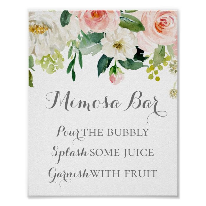 Pink And White Flower Mimosa Bar Sign Poster In 2019 Mimosa Bar Sign Wedding Bubbles Bar Signs