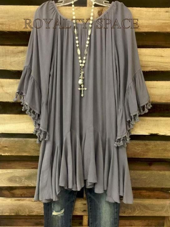 LOST IN WONDER FRINGE GRAY COMFY DRESS BOHO BOUTIQUE LOOSE FITTING PLUS SIZE 2X #SSCC #Tunic  This would be freaking adorable if its layered with one of those lace-cami mini dresses with the ruffles at the bottom, then layered over leggings with boots, and with a cute scarf instead of a necklace. Maybe a turtleneck in the winter.