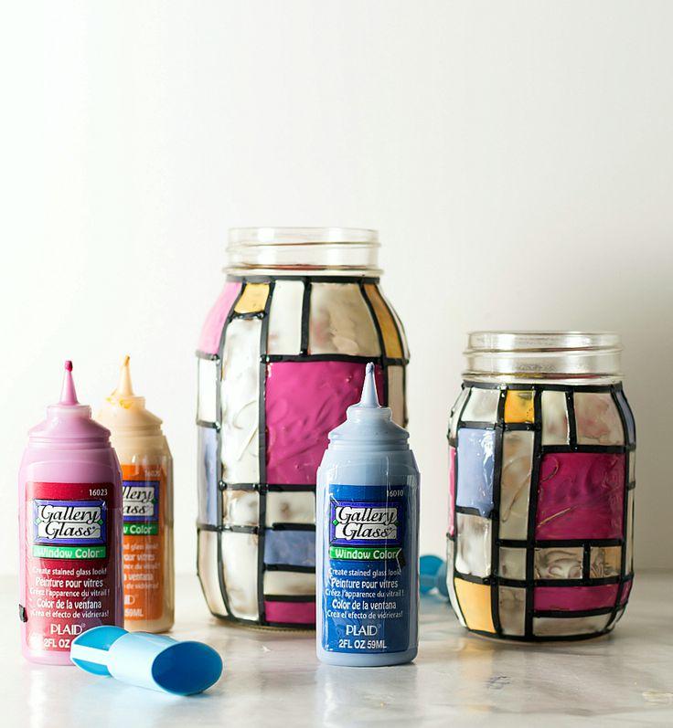 mason jar craft ideas: stained glass mason jars