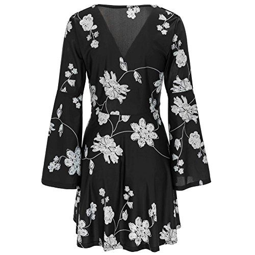 f0bb139200b5 Young17 Flare Long Sleeve Boho Floral Printed Sexy V Neck Black Party Wrap  Skater Mini Women
