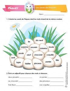 Cette activité vise à travailler le concept de rimes puisque les élèves devront colorier les oeufs dont les mots riment d'une couleur identique. Ce travail est idéal à réaliser avant l'écriture d'un poème sur le thème de Pâques.
