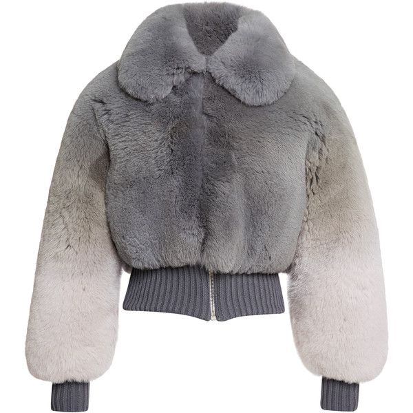 Marc Jacobs Grey Degrade Fox Cropped Bomber Jacket (139 390 ZAR) ❤ liked on Polyvore featuring outerwear, jackets, marc jacobs, coats, fur, grey, grey jacket, long sleeve crop jacket, fur bomber jacket and blouson jacket