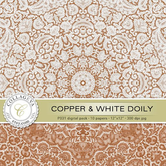 "Copper & White Doily (P031) Digital Pack 10 Printable Paper 12x12"" Lace Crochet, Romantic Shabby Chic Scrapbooking, Brown Vintage pattern by collageva"