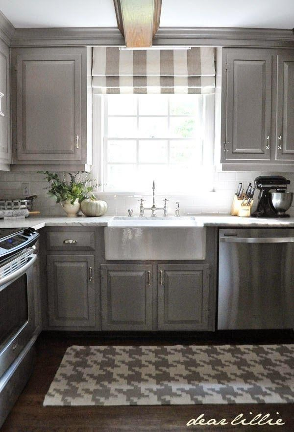 Gray Cabinets Are A Great Alternative To Boring Stain Kitchen Design Kitchen Window Treatments Kitchen Window Curtains