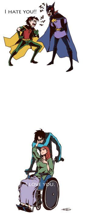 Barbara Gordon and Dick Grayson   (I have a crush on Robin/Nightwing.)