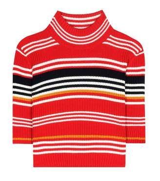 Alessandra Rich Striped wool cropped turtleneck sweater - Shop for women's Sweater - Stripe Sweater