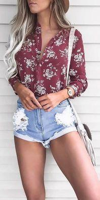 #summer #outfits / Red Flower Print Shirt + Ripped Denim Short Shorts