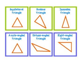 Set of matching cards for isosceles, equilateral, scalene, obtuse, right and acute triangles.