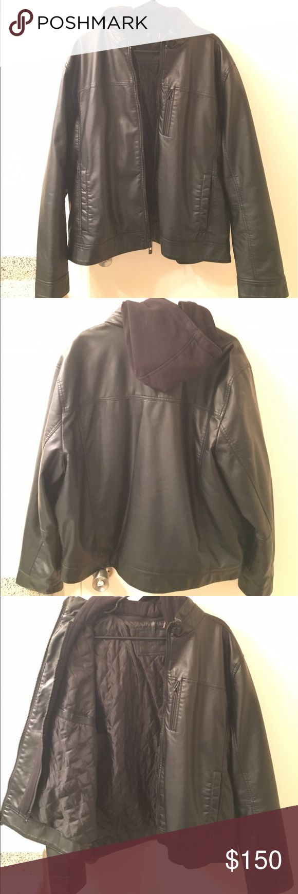 Calvin Klein. Black Leather Jacket with hood. Brand new. Never worn. Calvin Klein Jackets & Coats Bomber & Varsity
