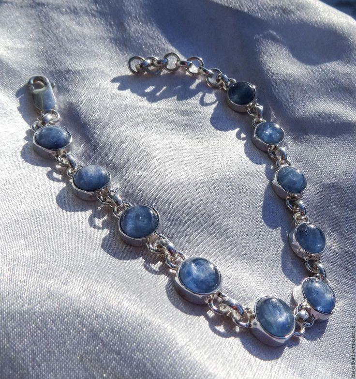 """Купить Серебряный браслет """"Кианитовый""""! Серебро ручной работы - голубой, кианит натуральный, браслет с кианитом"""