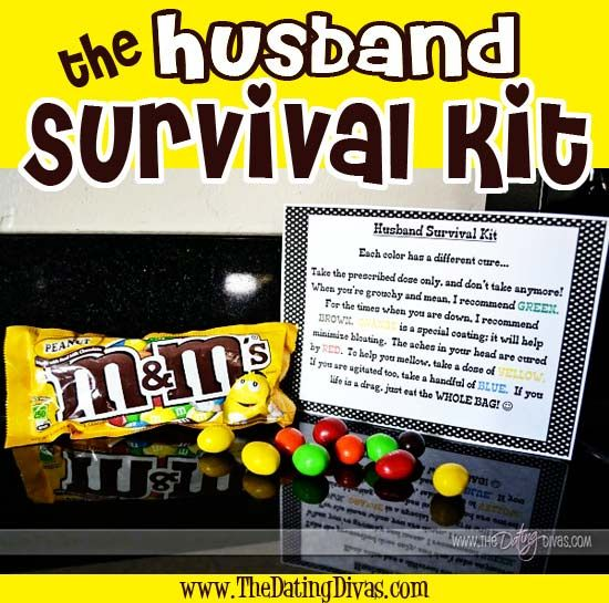 Printable poem for a Husband Survival Kit- so when life is a drag, he can eat the whole bag!  www.TheDatingDivas.com #giftidea #forhim #datingdivas