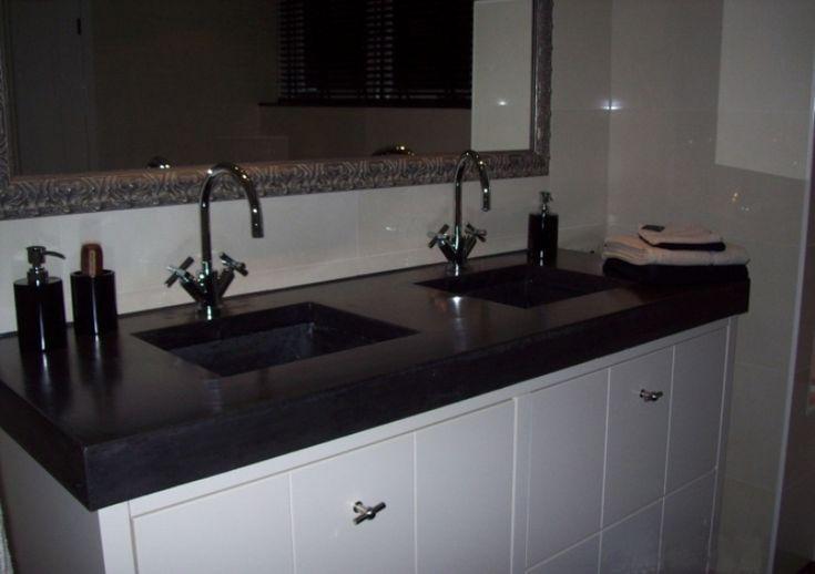 Solidus dubbele wastafel zwart beton