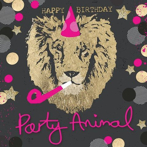 Party Animal Lion Birthday Card