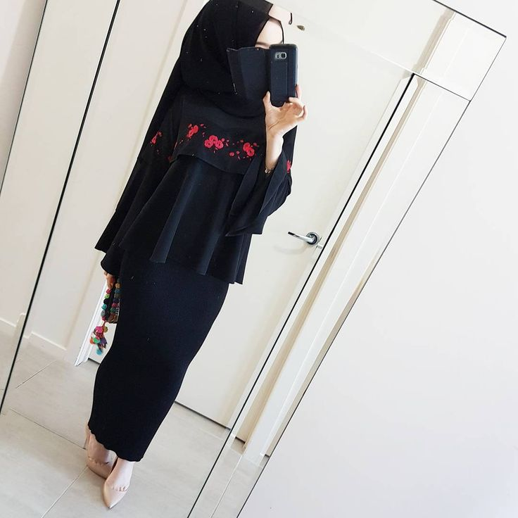 Eid clothing ✔ LOVE is an understatement when it comes to this embroidered blouse and black ribbed skirt  from @modestyinstyle. It truly is something special ❤ Swipe for a closer look ☻