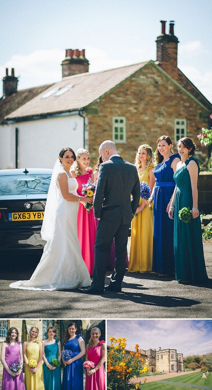 A wedding at Newburgh Priory with a bride in a Paloma Blanca lace dress and bridesmaid in assorted multi-coloured dresses_0165