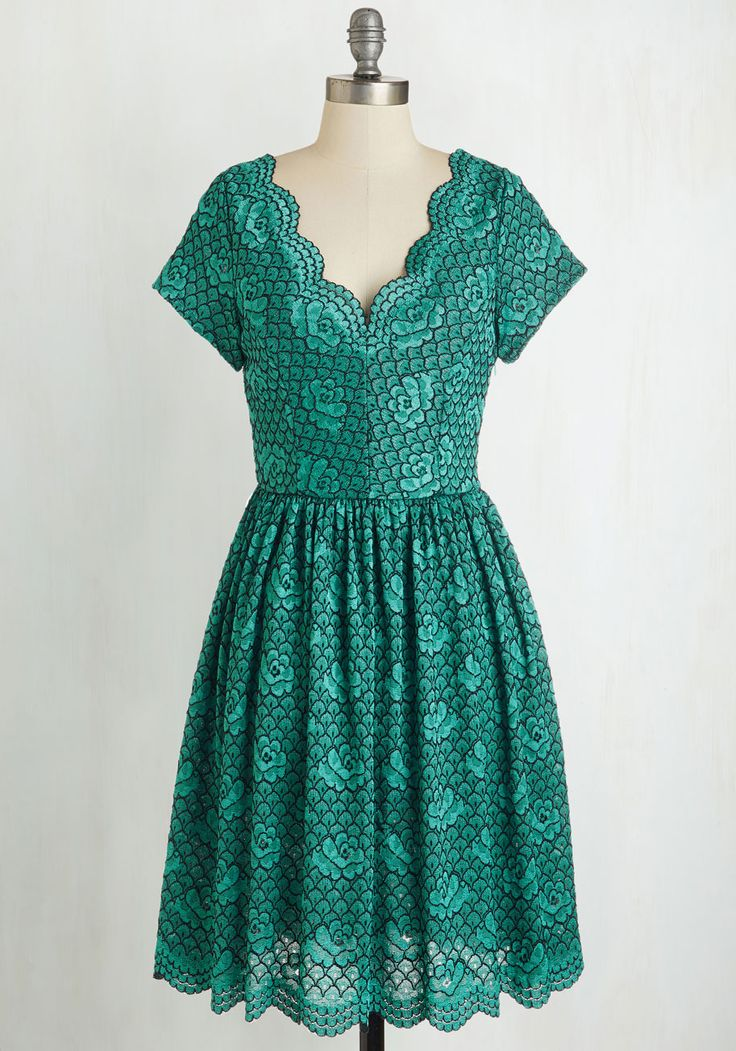 Try to Sea it My Way Dress - Green, Solid, Lace, Scallops, Prom, Wedding, Party, Bridesmaid, Homecoming, A-line, Short Sleeves, Lace, Mid-length