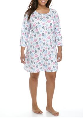 New Directions Women's Plus Size Owl Print Sleepshirt - Owl Forest Multi - 1X