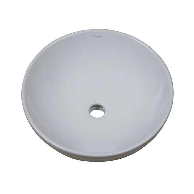Decolav 1441-CWH Oval Vitreous China Above Counter Lavatory Sink with Overflow, White 467712