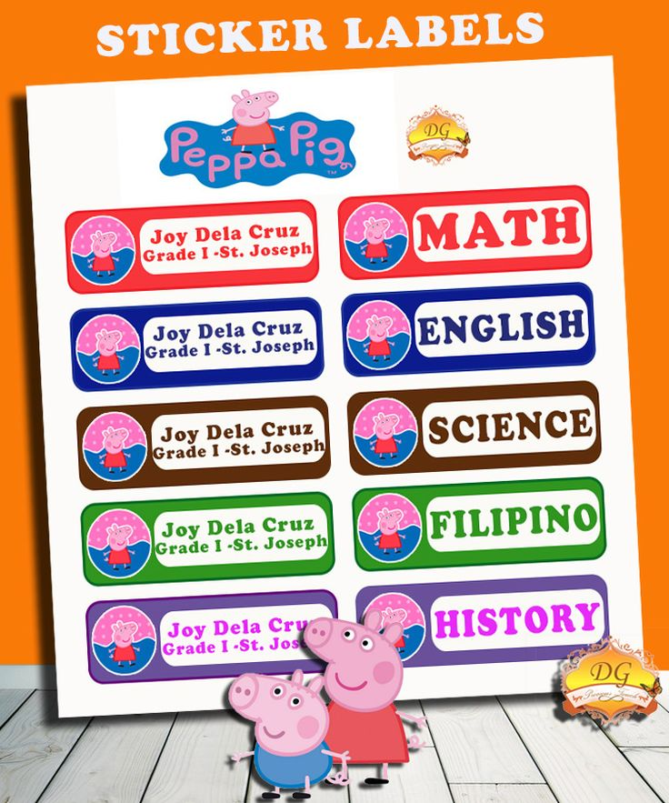 PEPPA PIG STICKER LABELS :) BACK TO SCHOOL!! :)   Organize your child's school supplies such as books and notebooks with stickers! Put your child's name and school/ class section. Customize ANY CHARACTER and ANY COLOR! <3     Send us a message on facebook DG Precious Touch for your inquiries :)