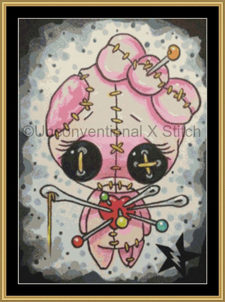 Voodoo Pink girl voodoo doll cross stitch pattern - Licensed Sugar Fueled by UnconventionalX on Etsy