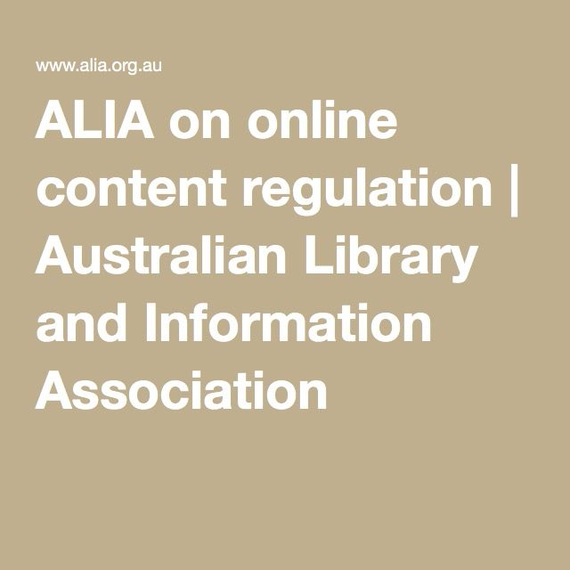 ALIA on online content regulation | Australian Library and Information Association