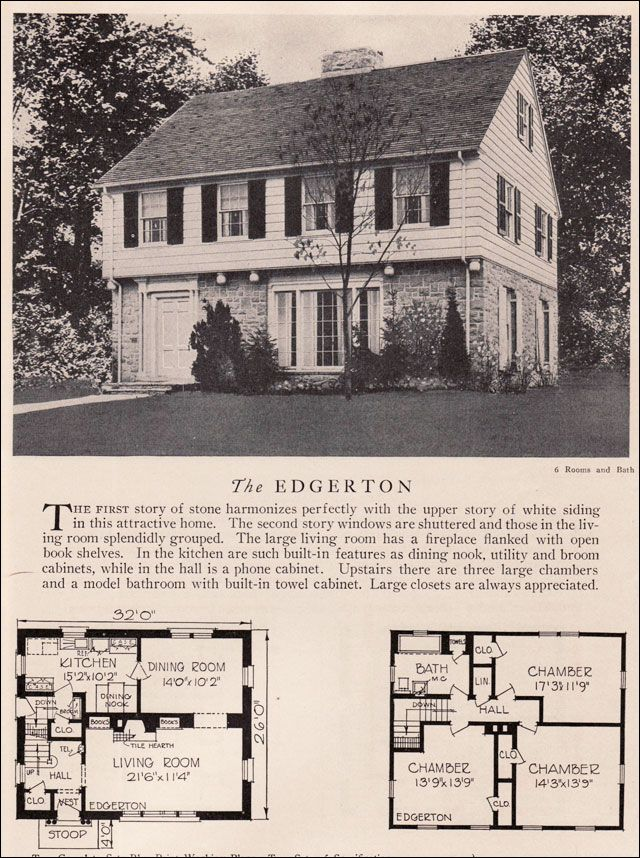 American Residential Architecture - House Plans - 1929 Home Builders Catalog - Garrison Colonial Revival Style