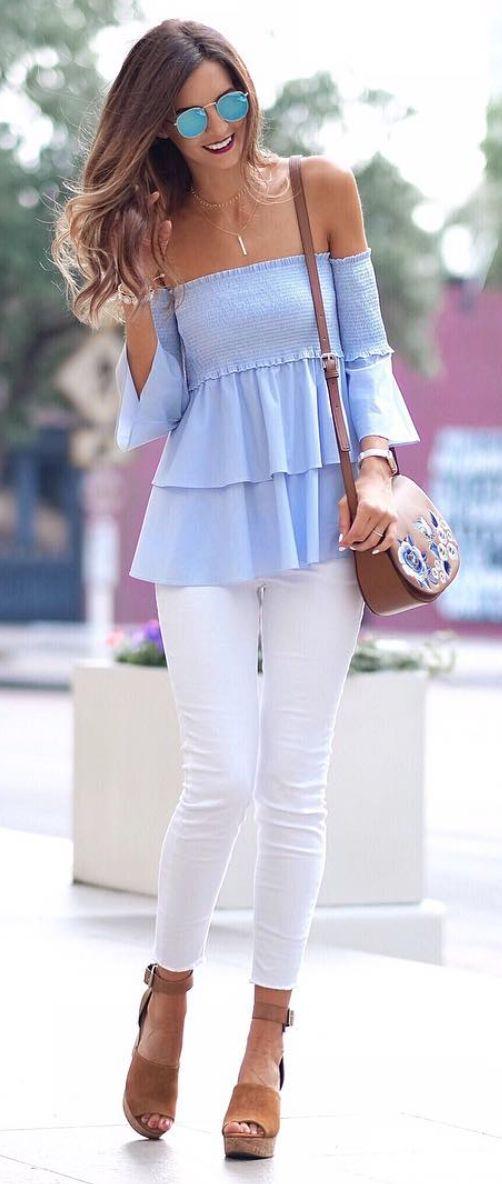 Blue off-the-shoulder top