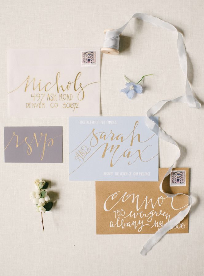 reply to wedding invitation m%0A Soft Blues   Golds Have Us Dreaming of Fresh Fall Weddings