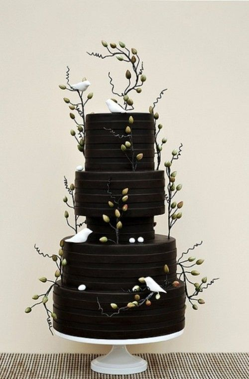 30 Boldly Different And Chic Black Wedding Cakes - White Doves and Olive Branches