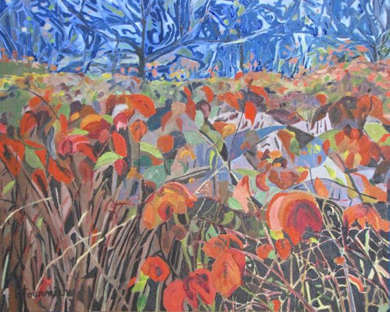 Francois Fournier Canadian Impressionist http://francoisfournierart.com/  This original oil painting present a field of wild red rapberry bushes during the end of the fall season.