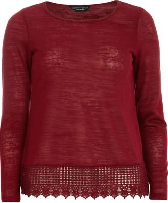 Dorothy Perkins Womens Cranberry Lace Jersey Knit Top- Red Long sleeve lace trim jersey knit top with lace detail at neck and hem. Length approx 63cm. Main 100%Polyester,Trim 100%Cotton. Machine washable. http://www.comparestoreprices.co.uk/january-2017-9/dorothy-perkins-womens-cranberry-lace-jersey-knit-top-red.asp