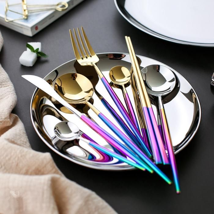 Rainbow and Gold Cutlery Set