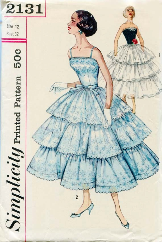 1950s Dress Pattern Simplicity 2131 Prom or Formal Evening Dress.