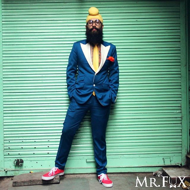 Uber colourful menswear blogger @parambanana in our teal blue suit from our FW 2015 Steam Punk collection.  #MrFox #Foxscope #Bespoke #Menswear #mensfashion #mensstyle #ootd #ootdmen #beardedmen #menwithbeards #igdaily #l4l #tagsforlikes #f4f #follow #like #love #comment #gq #delhi #bombay #chennai #pune #bangalore #blog #blogger #streetstyle #singhstreetstyle #ubermenschlab
