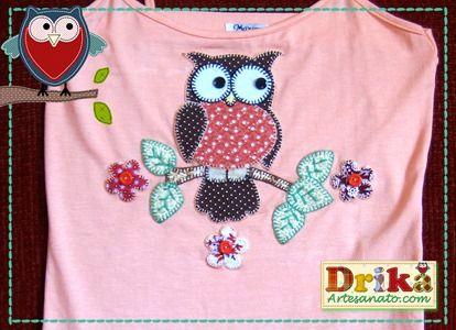 Coruja em patch aplique com molde - Drika Artesanato - O seu Blog de Artesanato.