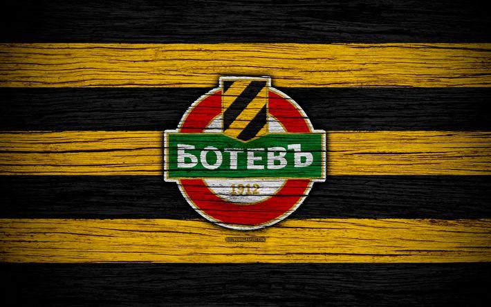 Download wallpapers Botev Plovdiv FC, 4k, Parva Liga, soccer, football, Bulgaria, Botev, logo, wooden texture, football club, FC Botev Plovdiv