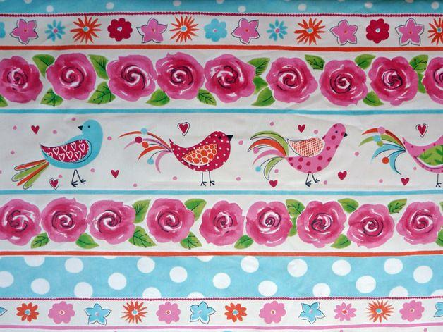 NOVEDAD PRECIO VENTA ONLINE 8,40€/m, ancho 280cm , tipo de tela GABARDINA SATINADA http://es.dawanda.com/product/86278443-tela-infantil-motivo-pajaros-y-flores-ref-te686