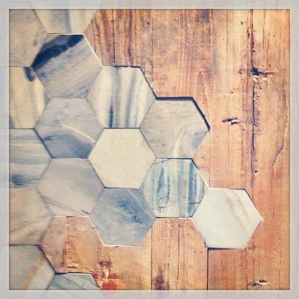 wood & hexagon tile floor