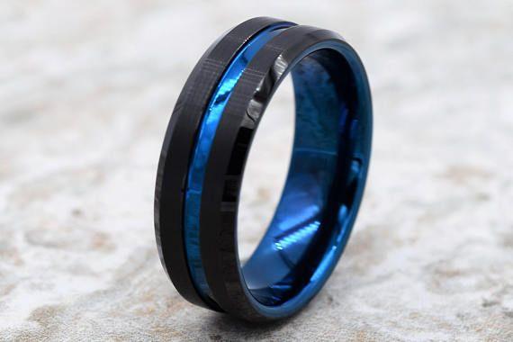 Blue Tungsten Ring Tungsten Wedding Band Tungsten Band Black Tungsten Ring Personalized Engraving Tungsten Men/'s Black Wedding Band