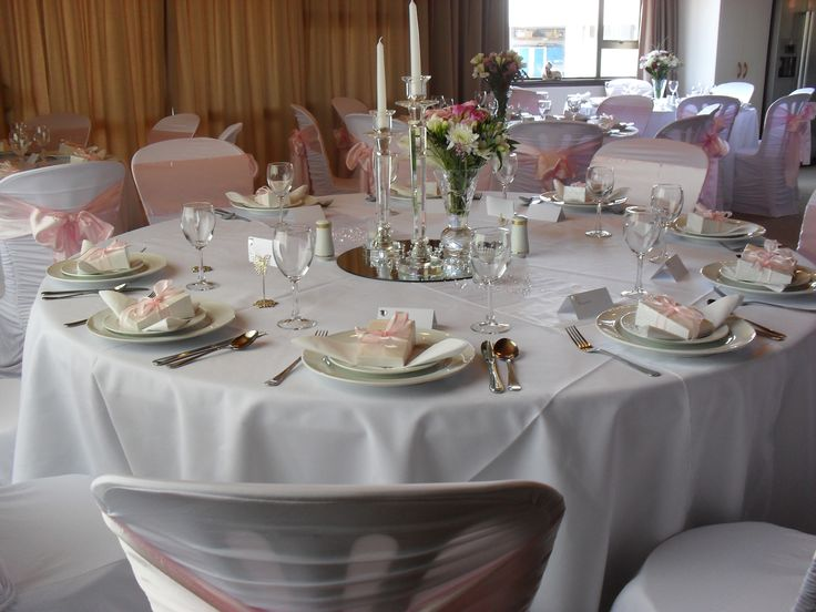 Soft Pink was the Brides request. The wedding was held in a private residence...50 guests