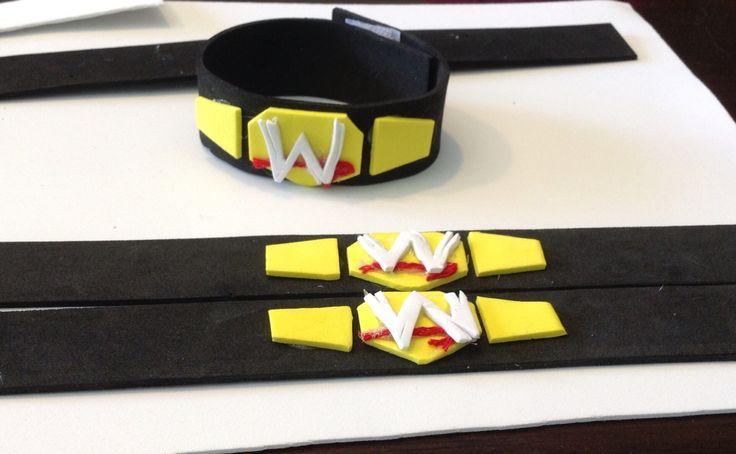 DIY foam WWE belt bracelets party favours. Love the hot glue gun!