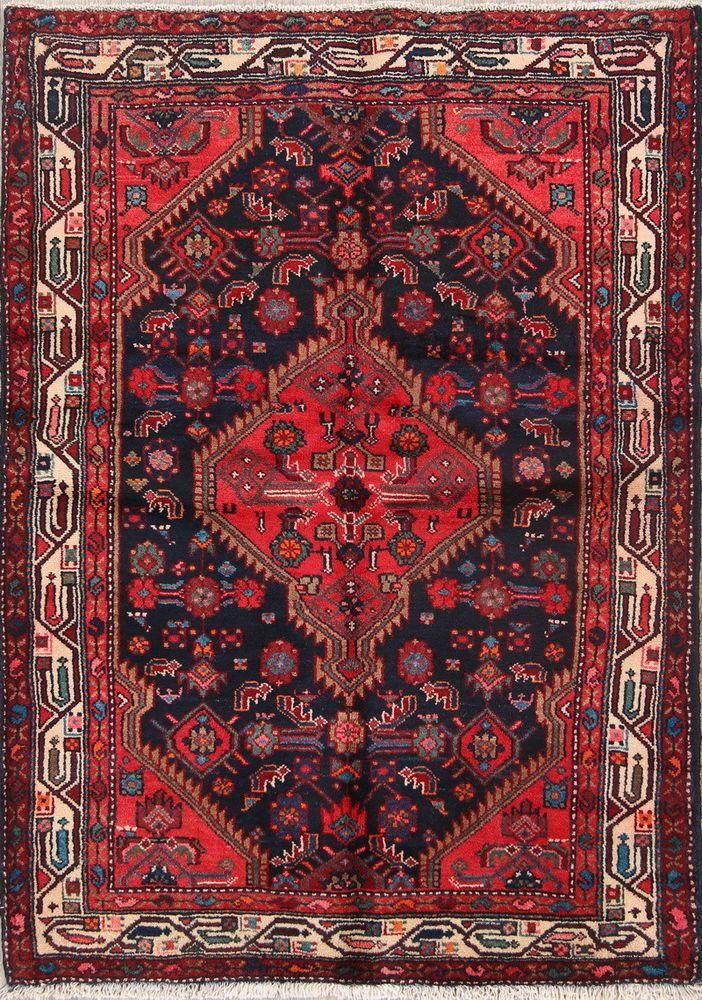 Geometric Navy Blue Pink 4x5 Hamedan Persian Oriental Area Rug 4 11