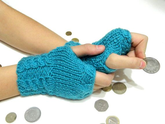 Winter GlovesBlue Fingerless Gloves Crochet by WomanStyleShop, $23.00
