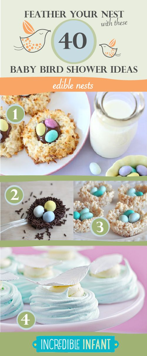 40 Bird Baby Shower Ideas to Feather Your Nest - Edible Nests - http://www.incredibleinfant.com