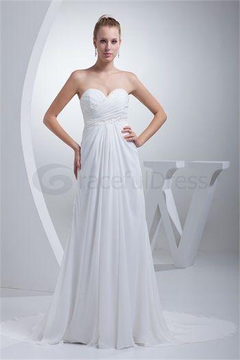 A-Line Sweetheart Court Train Wedding Dress  http://www.GracefulDress.com/A-Line-Sweetheart-Court-Train-Wedding-Dress-p19105.html