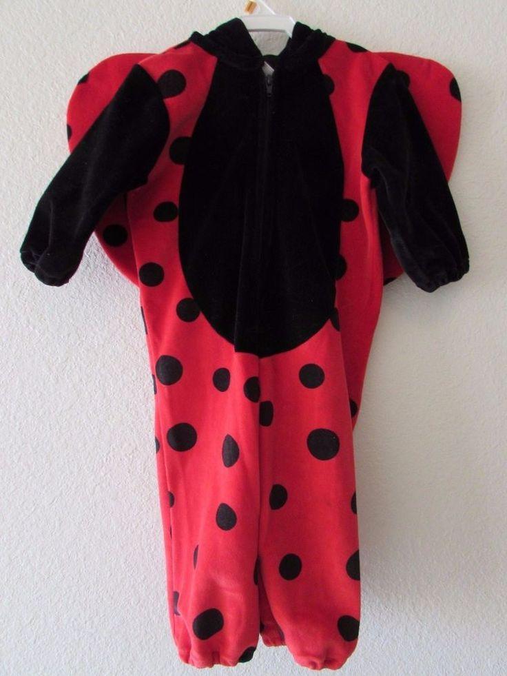Miniwear Lady Bug Costume 1 Piece Plush Red Black Ladybug Hood Wings 18 Months  #Miniwear #CompleteOutfit