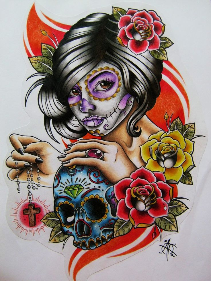 42 best sugar skull pin up tattoo designs images on pinterest skull tattoos sugar skull - Sugar skull images pinterest ...